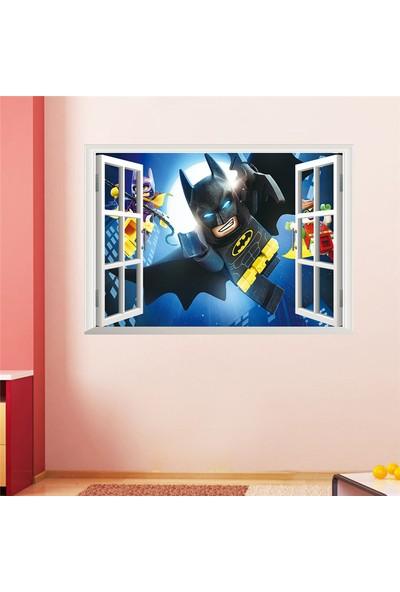 Crystal Kids Batman Lego Pencere 3D Görünümlü Bebek ve Çocuk Odası Betmen PVC Duvar Sticker