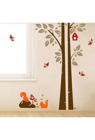 Crystal Kids Ağaç Sincap Kuşlar Çocuk ve Bebek Odası PVC Duvar Sticker