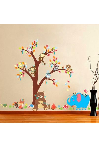 Crystal Kids Ayı Fil ve Ağaçta Hayvanlar Bebek ve Çocuk Odası PVC Duvar Sticker