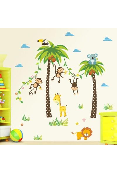 Crystal Kids Palmiyeler ve Sevimli Hayvanlar Bebek ve Çocuk Odası PVC Duvar Sticker