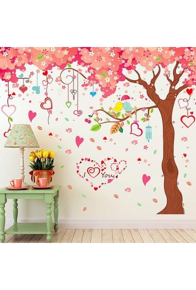 Crystal Kids Dev Boyutlu Ağaç Kırmızı Pembe Çiçekler ve Kalpler Ev PVC Duvar Sticker