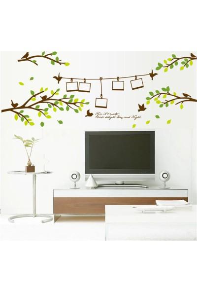 Crystal Kids Ağaç Dalları Kuşlar Resim Fotoğraf Çerçeveli PVC Duvar Sticker