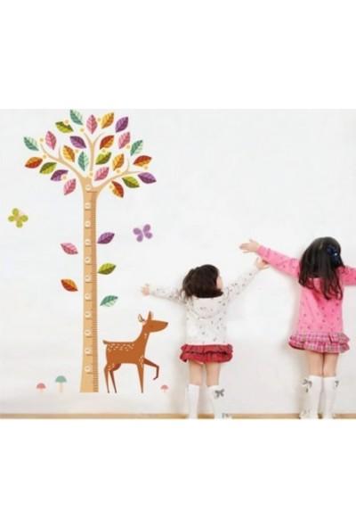 Crystal Kids Ağaç ve Yavru Ceylan Bebek ve Çocuk Odası Boy Ölçer PVC Duvar Sticker