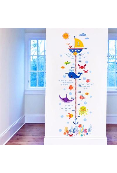 Crystal Kids Deniz Hayvanları Temalı Bebek ve Çocuk Odası Boy Ölçer PVC Duvar Sticker