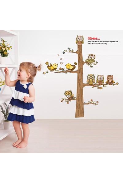 Crystal Kids Ağaç Kuşlar Baykuşlar Çocuk ve Bebek Odası PVC Duvar Sticker