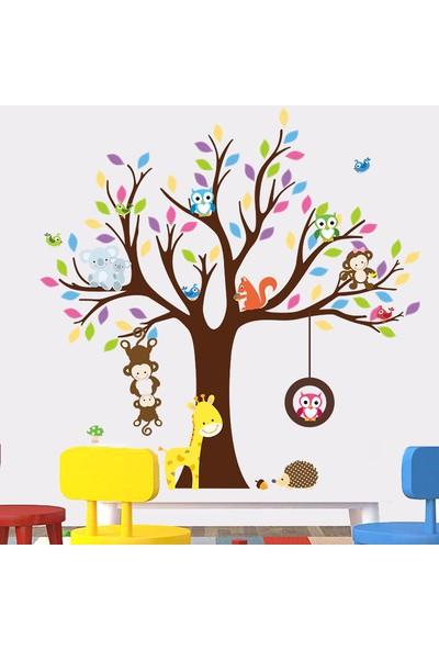 Crystal Kids Renkli Ağaç Maymun ve Baykuşlar Çocuk ve Bebek Odası PVC Duvar Sticker