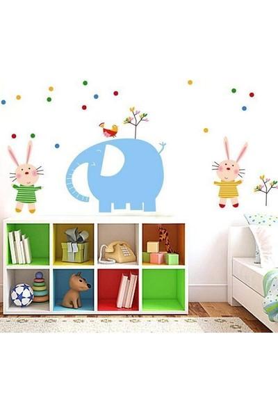 Crystal Kids Mavi Fil ve Tavşanlar Çocuk ve Bebek Odası PVC Duvar Sticker