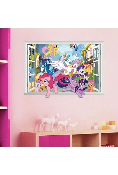 Crystal Kids Pony Midilli 3 Boyutlu Görünüm Bebek ve Çocuk Odası PVC Duvar Sticker