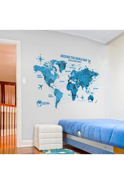 Crystal Kids Mavi Dünya Haritası Atlas PVC Duvar Sticker