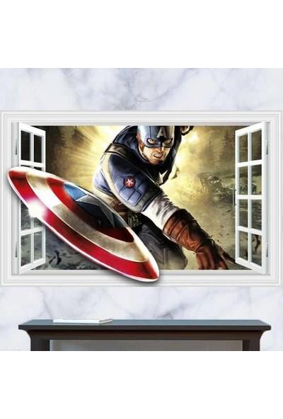 Crystal Kids Kaptan Amerika Captain America Avengers Süper Kahraman Çocuk ve Genç Odası Sticker
