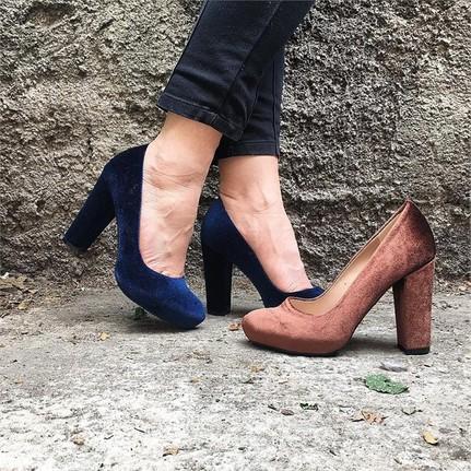 Shop and Shoes 162-525 Kahverengi Kadife Kadın Ayakkabı