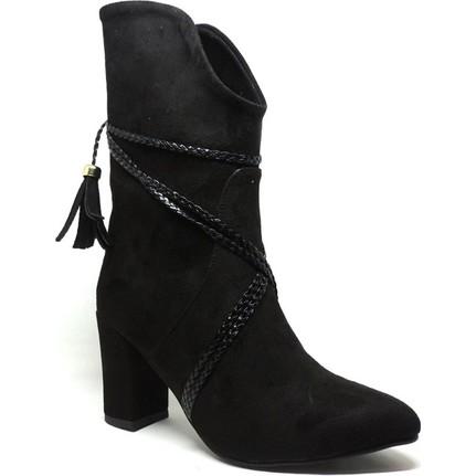 Shop and Shoes 036-905 Siyah Süet Kadın Çizmesi