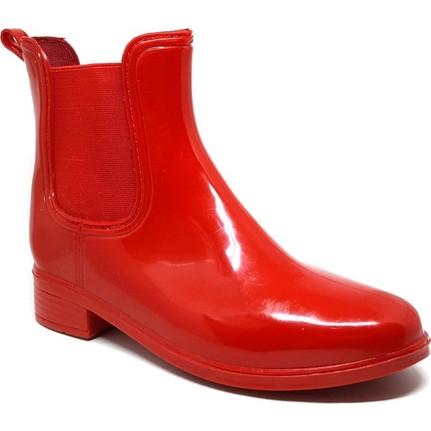 Shop And Shoes 062-035 Kırmızı Kadın Yağmur Botu