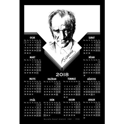 Keskin Color 35*50 12 Ay Floklu Poster Takvim-Atatürk 2018