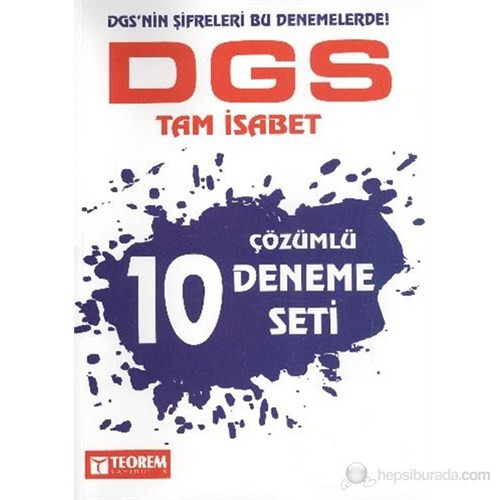 Teorem DGS Tam İsabet 10 Çözümlü Deneme Seti