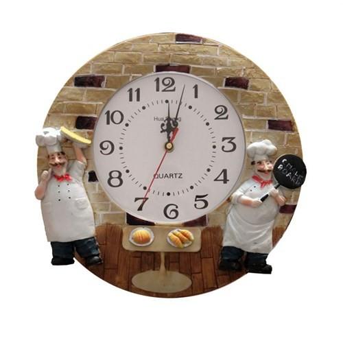 Gold Dekor Aşçılı Mutfak Duvar Saati
