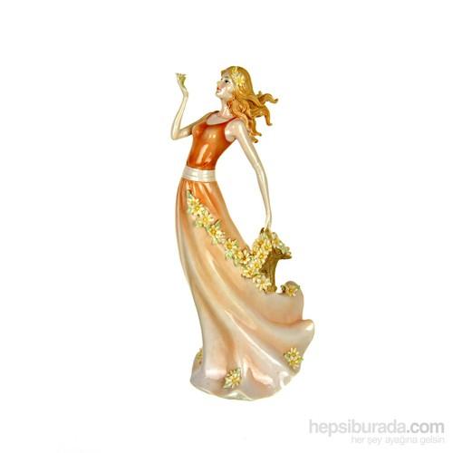 Lucky Art Turuncu Elbiseli Bayan Biblo 36 Cm