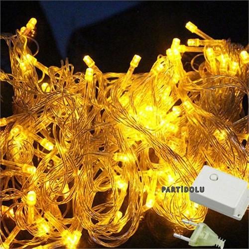 Pandoli Beyaz Kablolu 100 Ampüllü Led Işık Sarı Renk 10 Metre