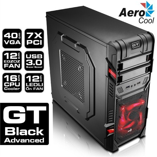 Aerocool GT Advance Usb 3.0 SSD Ready Mid-Tower Siyah Oyuncu Kasası (AE-GTA)