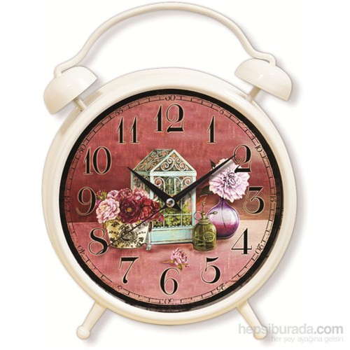 Retro Desenli Çalar Saat Görünümlü Saat