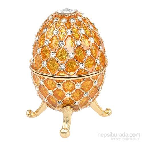 Kutulu Metal Süs Eşyası Kırmızı Yumurta
