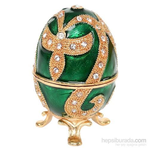 Kutulu Metal Süs Eşyası Yeşil Yumurta