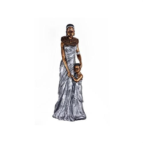 Lucky Art Gümüş Afrikalı Bayan Biblo - 100 Cm