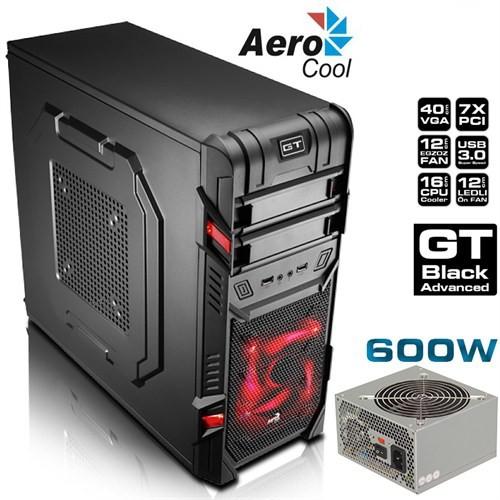 Aerocool GT Ad. BE 600W, 2x USB , 2 Fanlı,Mid-Tower Siyah Kasa (AE-GTA-600)