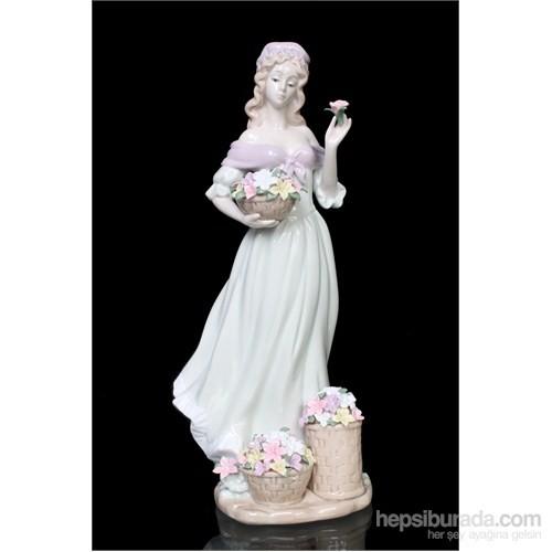 Çiçek Toplayan Kadın Figürlü Porselen Biblo