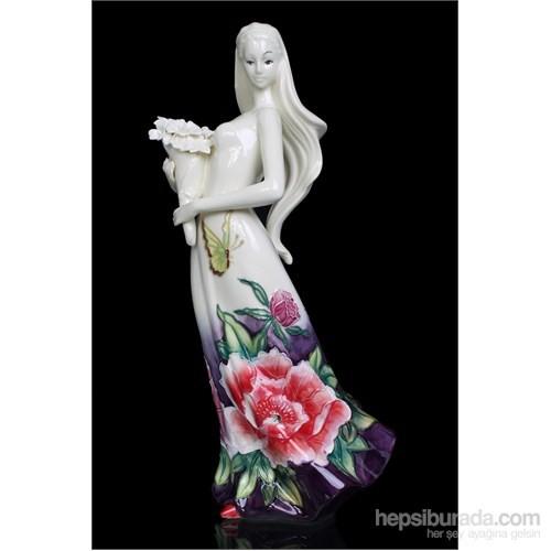 Çiçekli Kadın Figürlü Porselen Biblo