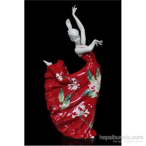 Dansçı Kadın Figürlü Porselen Biblo