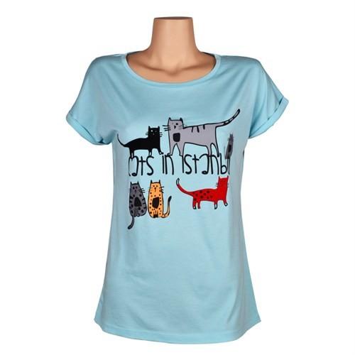 Biggdesign Cats İn İstanbul Yeşil Kadın T-Shirt L