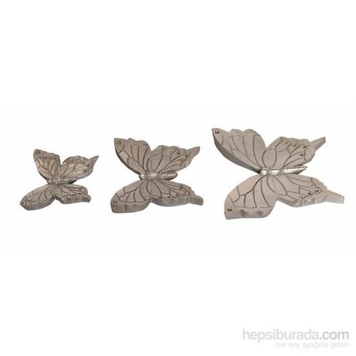 Dekoratif Taşlı 3'lü Gümüş Kelebek Süsü