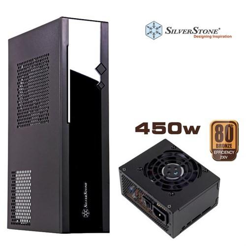 SilverStone Milo ML05B Çift 2xUSB 3.0 Slim HTPC 450W Kasa (Siyah) (SST-ML05B-450)