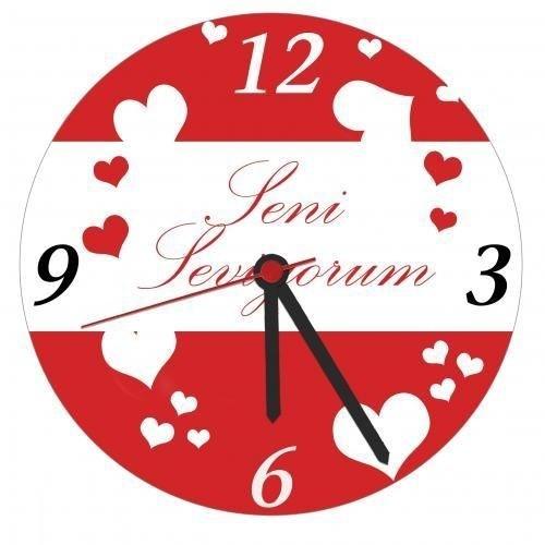 Seni Seviyorum Mesajlı Duvar Saati