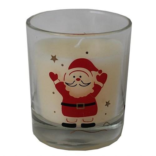 Krem Mumlu Noel Baba Figürlü Camdan Yılbaşı Mumluk