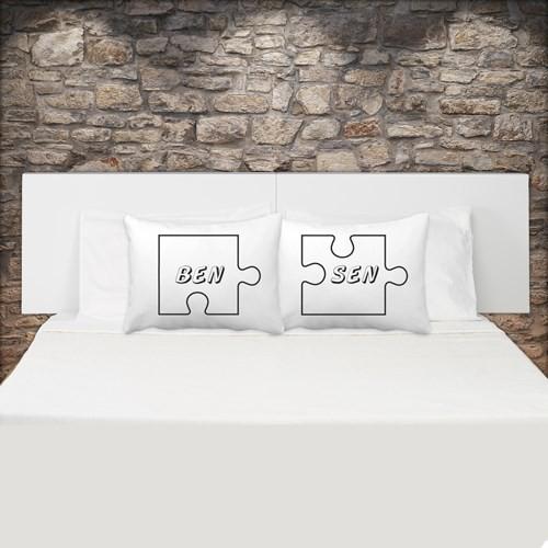 Sen Ben Puzzle Tasarımlı Çift Yastık