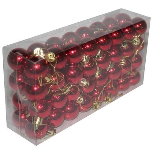 Kırmızı Renkli Kutulu 64 Adet Yılbaşı Cici Top Süs 3 Cm