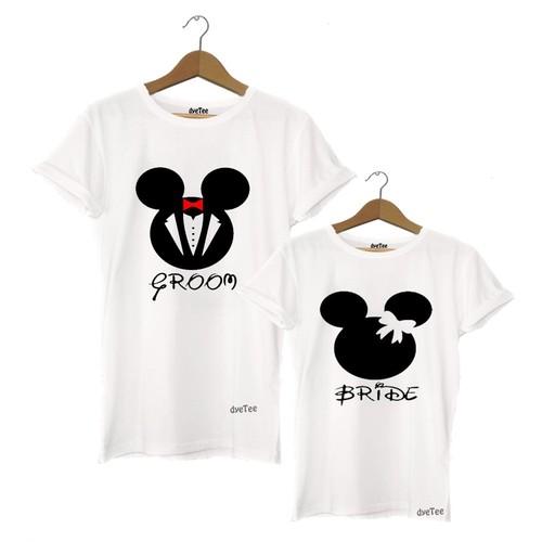 Dyetee Mickey Bride Groom Sevgili T-Shirt