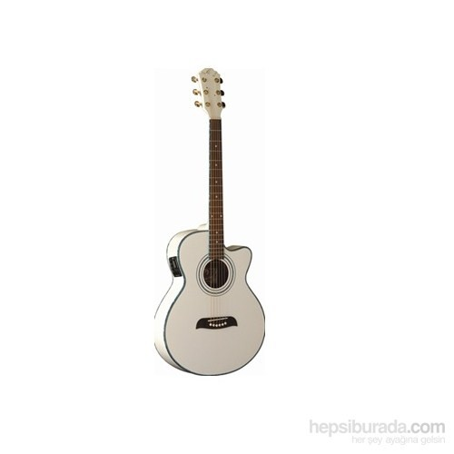 Jay Turser JTA-424QCET-WHT Elektro Akustik Gitar