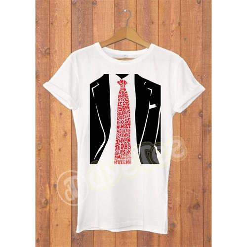 Dyetee Tie Typo Bayan T-Shirt