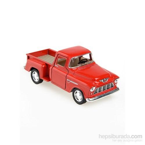 Kinsmart 1955 Chevy Stepside Pick-Up Çek Bırak 1/32 Die Cast Model Araç Kırmızı