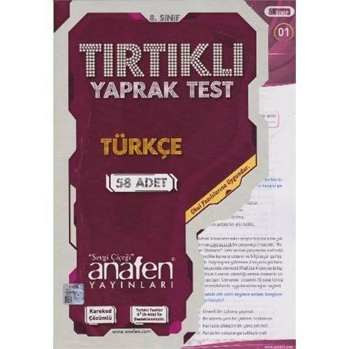 Anafen 8. Sınıf Türkçe Tırtıklı Yaprak Test