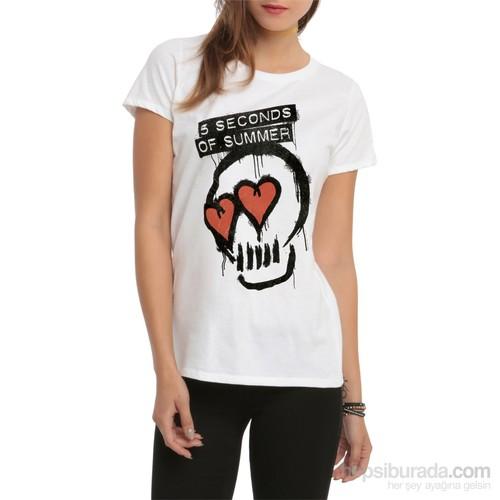 Köstebek 5 Seconds Of Summer Skull Kadın T-Shirt
