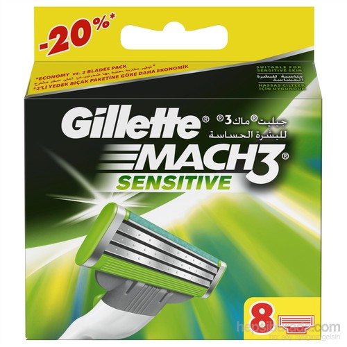 Gillette Mach3 Sensitive Yedek Tıraş Bıçağı 8'li