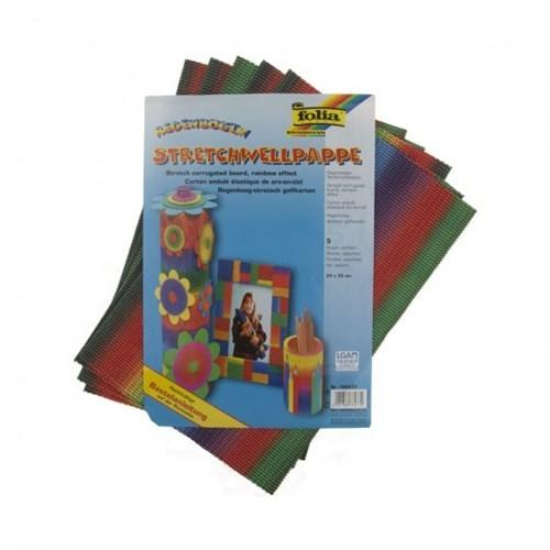 Folia Gökkuşağı Renklerinde Esnek Oluklu Kağıt