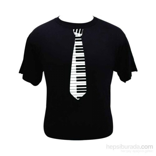 Tuşeli Kravat Desenli T-Shirt - Large