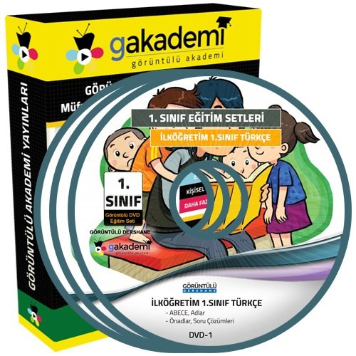 Görüntülü Akademi 1. Sınıf Türkçe Görüntülü Eğitim Seti (4 Dvd)