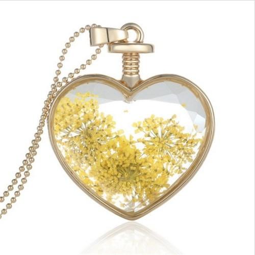 Güven Altın Yaşayan Kolye Kristal Cam İçinde Kurutulmuş Çiçekler Yk27