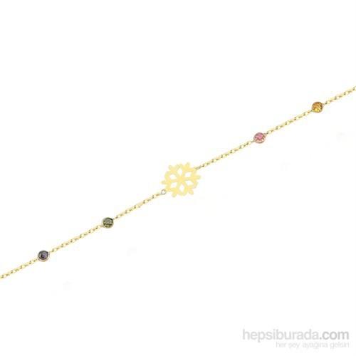 Glorria 14 Ayar Altın Renkli Taşlı Kar Tanesi Bileklik